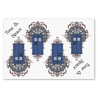 時間及び宇宙の青いイギリスの警察箱Steampunk 薄葉紙