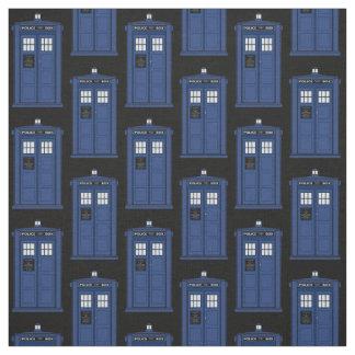 時間旅行のための青いイギリスの警察箱の生地 ファブリック