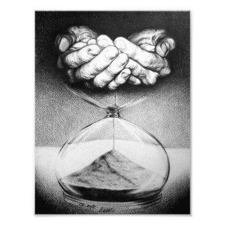"""""""時間""""の砂時計の鉛筆のスケッチの写真のプリント フォトプリント"""
