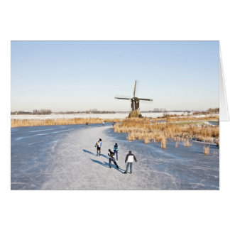 普通オランダ語: 凍結する湖のアイススケート カード
