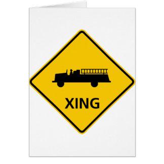 普通消防車の交差のハイウェーの印 カード