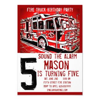 普通消防車の消防士の子供の誕生日の招待状 カード