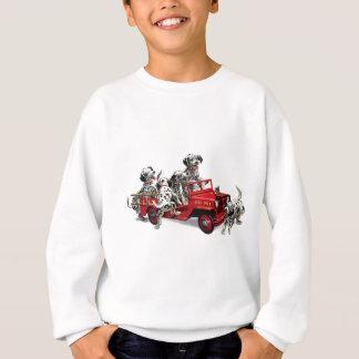 普通消防車を持つDalmatian子犬 スウェットシャツ