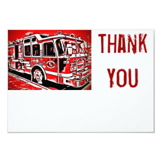 普通消防車エンジンの消防士の平らなサンキューカード カード