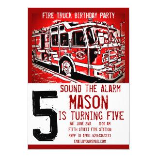 普通消防車エンジンの消防士の誕生日の招待状 カード