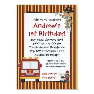普通消防車猿のストライプな誕生日の招待状 カード