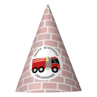 普通消防車 + 煉瓦誕生会の帽子 パーティーハット