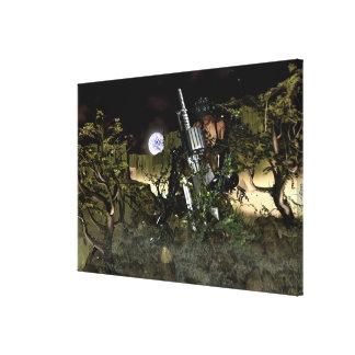 景色で待っている銃を持つ戦士の女性 キャンバスプリント