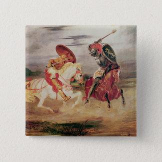 景色で戦っている2人の騎士c.1824 5.1cm 正方形バッジ