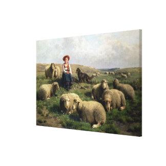 景色のヒツジを持つShepherdess キャンバスプリント