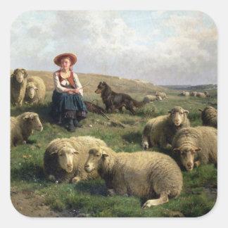 景色のヒツジを持つShepherdess スクエアシール