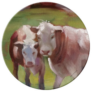 景色のプレートの2頭の牛 磁器プレート