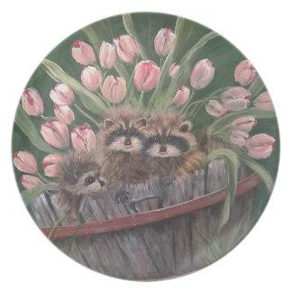 景色のペンキの絵画手の芸術の自然のアライグマ プレート
