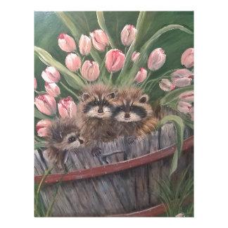 景色のペンキの絵画手の芸術の自然のアライグマ レターヘッド