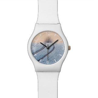 景色の冬の景色の木の写真-目盛板 腕時計