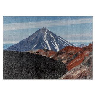 景色の夏の火山景色 カッティングボード