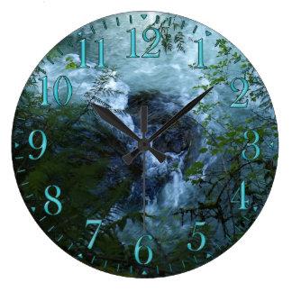景色の川の急流の自然の時計 ラージ壁時計