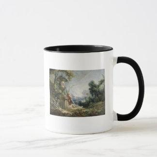 景色の牧歌的な場面、か若い羊飼い マグカップ