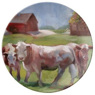 景色の磁器皿の3頭の牛 磁器プレート