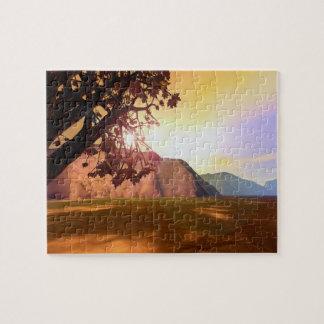 景色の秋の木 ジグソーパズル