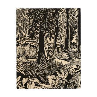 景色の芸術のプリントB及びWの森林芸術の木製のプリント ウッドウォールアート