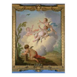 景色の鳥と遊ぶ天使 ポストカード