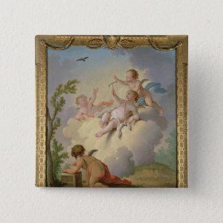 景色の鳥と遊ぶ天使 5.1CM 正方形バッジ