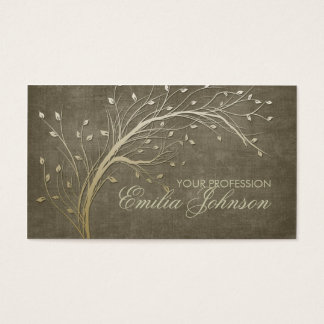 景色デザイナー庭師の金ゴールドのツリーブランチカード 名刺