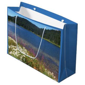 景色湖の写真 ラージペーパーバッグ