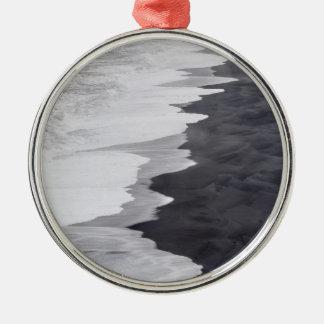 景色白黒ビーチ メタルオーナメント