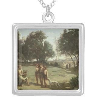 景色1845年のホーマーそして羊飼い シルバープレートネックレス