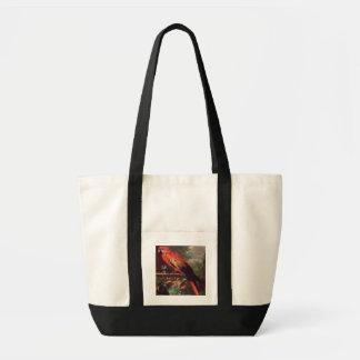 景色(キャンバスの油)の深紅のコンゴウインコ トートバッグ