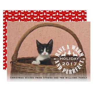 暖かいおよびpurrfectの休日猫のクリスマスを持って下さい 12.7 x 17.8 インビテーションカード