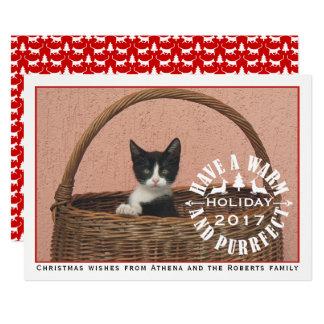 暖かいおよびpurrfectの休日赤いペットクリスマスを持って下さい 12.7 x 17.8 インビテーションカード
