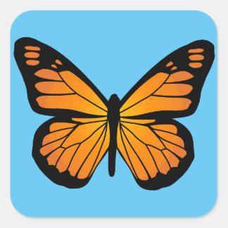 暖かいオレンジ色の輝きの蝶 スクエアシール