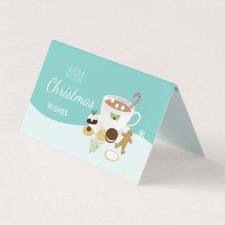 暖かいクリスマスはクッキーおよびココアを望みます カード