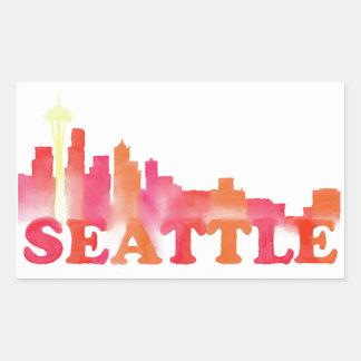 暖かいシアトルのスカイライン 長方形シール