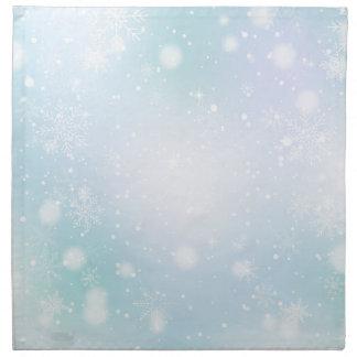 暖かいティール(緑がかった色)および紫色の冬の不思議の国の雪片 ナプキンクロス
