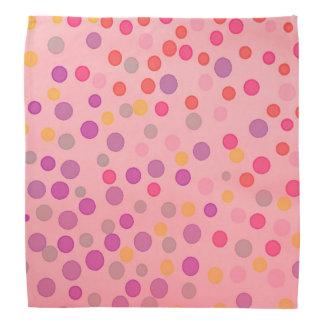 暖かいパステル調ピンクの多彩な点 バンダナ