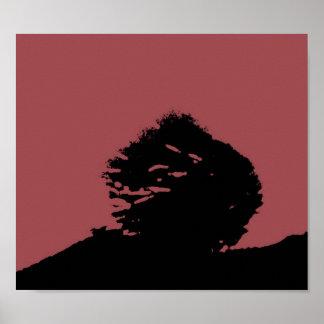 暖かい山腹の木ポスター ポスター