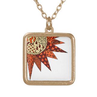 暖かい日光-ヒッピーの芸術のペンダントのネックレス ゴールドプレートネックレス
