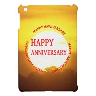 暖かい日没の金地平線の幸せな記念日 iPad MINI カバー