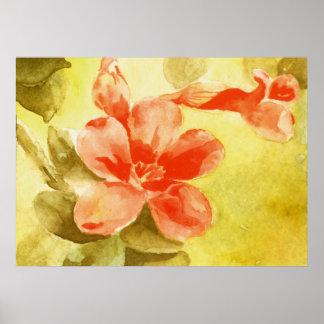 暖かい美しいの水彩画の花 ポスター