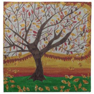 暖かい色のかわいらしい秋の木のコラージュの絵画 ナプキンクロス