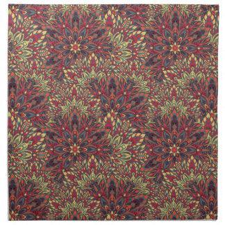 暖かい色の曼荼羅パターン ナプキンクロス