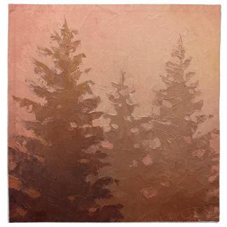 暖かい色の霧深いヒマラヤスギ木 ナプキンクロス