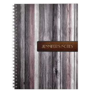 暖かい色木製のエレガントなレザールック#12 ノートブック