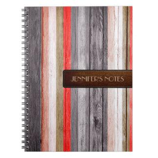 暖かい色木製のエレガントなレザールック#4 ノートブック