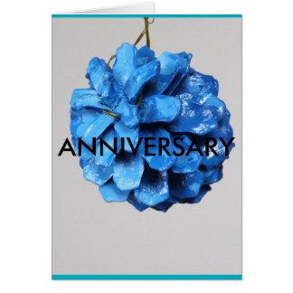 暖かい青、pineconeの結婚式、記念日ノートカード カード