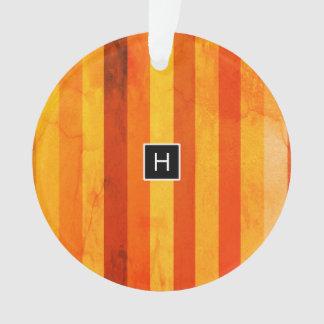 暖かい風化させたオレンジ赤のストライプのモノグラム オーナメント